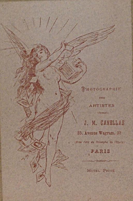 Verso d'un carton de support d'une photographie de J. M. Cañellas